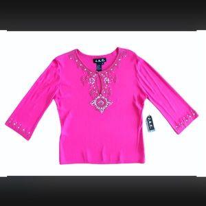 J.A.C. Pink embellished 3/4 sleeve knit blouse 1X